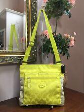 Coach Crossbody Signature Nylon Colorblock File Bag Neon Yellow Nude F77576 B2A