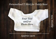 personalised printed teddy bear white t-shirt photo/logo/text for your own Teddy