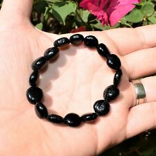 "CHARGED 6"" Natural Black Tourmaline Crystal Bracelet Tumble Polished Stretchy"