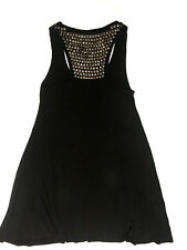 RRP $260 CHARLIE BROWN BLACK STRETCH A LINE DRESS W/ METAL EMBELLISHMENTS
