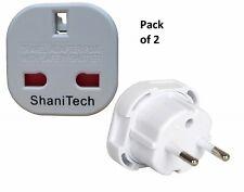 Shanitech 2 X Uk à l'UE Européen 2 Broches Adaptateur Voyage Plug Convertisseur Europe
