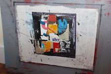 UBER Ronald Ahlstrom Listed Signed Modernist Abstract Expressionist Art Collage