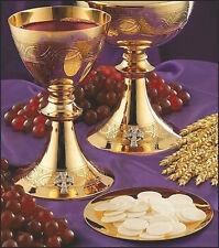 MAGNIFICENT 24K GOLD CHALICE AND PATEN   (CHURCH - ALTAR - PRIEST - CIBORIUM)