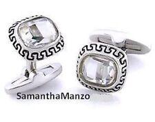 Mens Greek Key BIG Crystal Bling Cufflinks Jewelry Cuff Rings Links Brand New