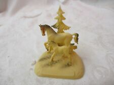 Vintage Hong Kong miniature plastic Horse & Colt with tree Figurine #5-203E