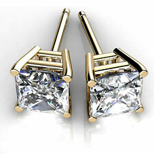 1.50 Ct VVS1 Princess Solitaire Diamond Earrings 14K Solid Yellow Gold Studs