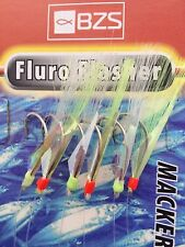 10 packets of Fluro Flasher  reflector mackerel mackeral tinsel feathers 6 hooks