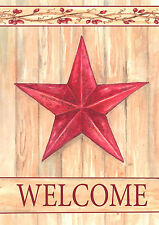 "Barn Star Welcome Primitive Garden Flag Country Yard Banner 12.5"" x 18"""