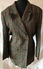 Gaddis beige señora chaqueta blazer talla 42 lana virgen forradas-a cuadros verde marrón