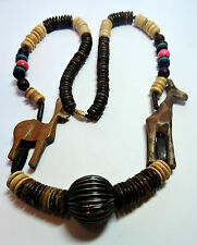 New Old Stock Carved Giraffe & Springbok Natural Bead Unusual Necklace  #FASH5