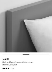 Ikea Malm High Bed Frame with 4 storage boxes
