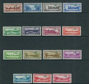 GUATEMALA 1935-37 PICTORIALS set overprinted w/Quetzal in GREEN (Sc C32-46) MLH