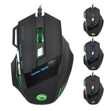 1pcs LED Optical 5500DPI 7 Button USB Wired Gaming Mouse for Pro Gamer PC Cheap