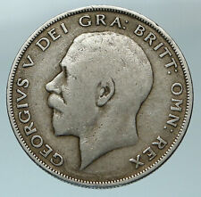 1921 Great Britain United Kingdom UK King GEORGE V Silver Half Crown Coin i84556