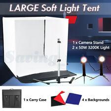 LARGE 50CM Soft Box Light Tent Cube Photo Studio Softbox Lighting Kit 4 Backdrop