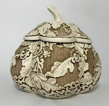 VINTAGE 1982 ARNART IVORY DYNASTY CARVED RESIN FLORAL ASIAN BOWL