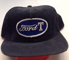 1970s 1980s MODEL T FORD TRUCKER BASEBALL CAP HAT, BLUE CORDUROY, NOS VINTAGE