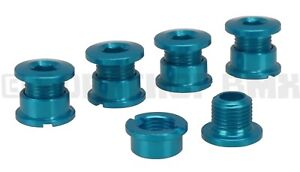 Aluminum alloy chainring bolts single speed bicycle or BMX (set of 5) BRITE BLUE