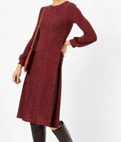 M&S Jersey Cuff Swing Midi Dress Sz S Claret Burgundy Polyester Mix
