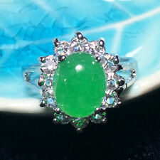 4.2 Ct Jade Solitaire Oval Green Ring Gemstone Genuine Transparent Jadeite J33