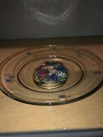 """Large Clear Glass Crystal Bowl 13"""" Flowers Salad Fruit Lazy Susan Smooth"""