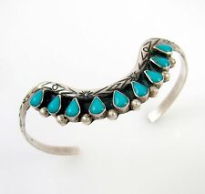 Old Pawn Zuni Sterling Silver Petit Point Turquoise Cuff Bracelet | RS M