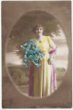 """PRETTY GIRL & FLOWERS - S D """"Go Well"""" Series #11/5 - 1914 used postcard"""
