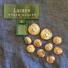 RALPH LAUREN Silver Gray Brown LEOPARD CROWN CREST Blazer BUTTON Set Of 10