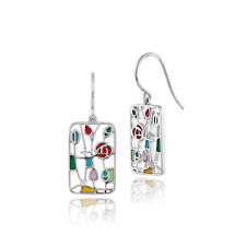 Gemondo Plata De Ley 925 Topacio Blanco Rennie Mackintosh Estilo Pendientes