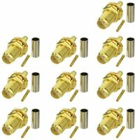 10pcs SMA Female Bulkhead Crimp Connector Gold-Plated for RG316 RG174 Cable