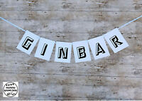 """""""GIN BAR"""" Bunting. Party Banner. Birthday Decoration Banner outdoor waterproof"""