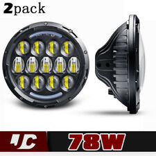 """7"""" Round Projector HID White 6K LED Daymaker DRL Headlight Light Bulb Lamps Pair"""