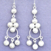 15.65cts Natural White Pearl 925 Sterling Silver Chandelier Earrings P27277