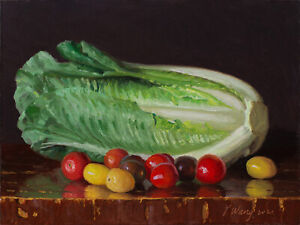 Original oil painting a day still life lettuce cherry tomatoes 12x9 inch, Y Wang