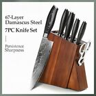 Chef Santoku Utility Paring Knife Set 67 Layers Damascus Steel Wood Handle 7Pcs