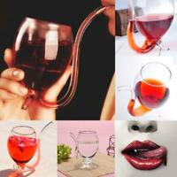 1 Novelty Vampire Devil Wine Glass Vodka Whiskey Cup With Drinking Tube Straw BE