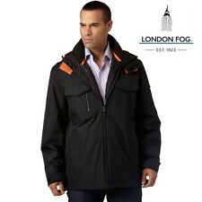 London Fog Mens size Large Easton 3-In-1 heavyweight Parka w/ liner in Black NWT