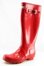 Hunter Boot Sz 7 M Rain Boot Round Toe Red Synthetic Women