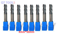 8Pcs 4mm Tungsten Carbide Coated 4 Flute End Mill CNC Milling Cutter Drill Tool