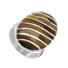 925 Sterling Silver Brown Tiger Eye Gemstone with Stripes Design Ring