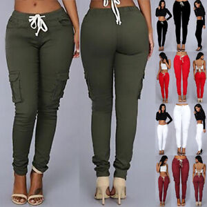 Womens Ladies High Waist Cuffed Bottom Jogging Joggers Active Gym Trousers Pants