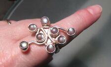 925 sterling silver dramatic large labradorite stone ring UK M½/US 6.5. Gift bag
