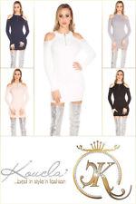 Sexy KouCla Cold shoulder Ripp Strick Minikleid Strass Longpulli Abendkleid L