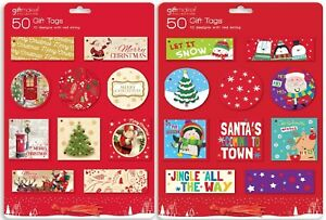 100 x Traditional + Cute Tags, Tie-on Labels Red Thread - 50 Cute and 50 Trad