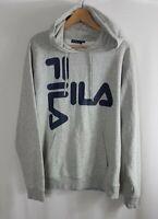 Fila Mens Hoodie XL Extra Large Hooded Sweater Grey Black Jumper Sweatshirt