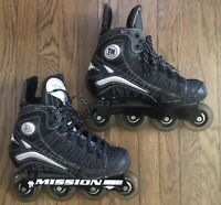 Mission Hockey D2c DNA Inline Hockey Roller Blades SIZE 7 1/2 D THERMAL HEAT