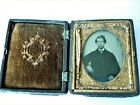 Antique 1850 Tintype Photograph Young Man Gentleman Tin Type Daguerreotype Case for sale