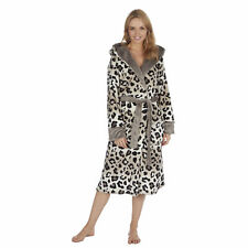 Ladies Animal Leopard Spotted Tiger Striped Hooded Dressing Gown Bath Robes Long