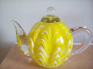 Glass teapot paperweight