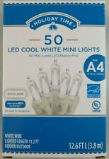 Holiday Time 50 LED Cool White Mini Lights Christmas Decoration Fairy White Wire